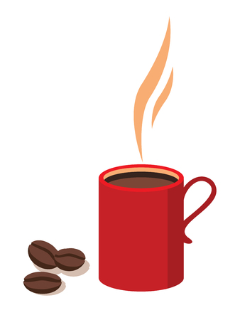 red cup: Red cup with coffee  and coffee beans isolated on white background vector illustration. Illustration