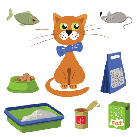 toy toilet bowl: Cat and accessories for care. Vector illustration