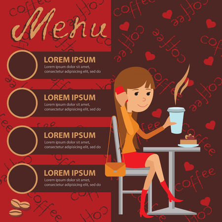 using phone: Vector illustration of template for menu, brochure, flyers for a cafe or restaurant with a picture of a young girl sitting at a table drinking coffee and using phone.