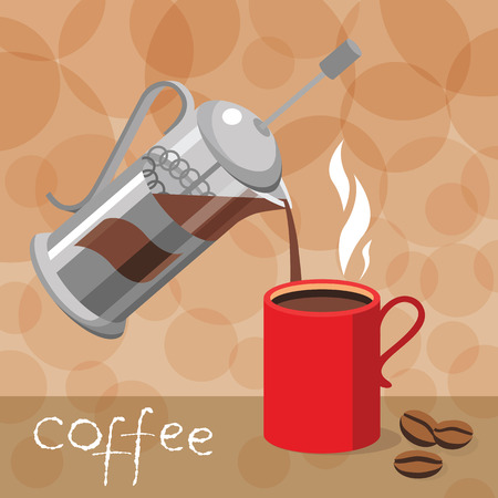 poured: Template design for cafe and restaurants vector illustration with coffee press Cup and place for text. Coffee poured into Cup.