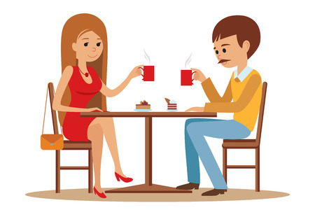 flirting: Couple sitting in the cafe, flirting and talking about something.