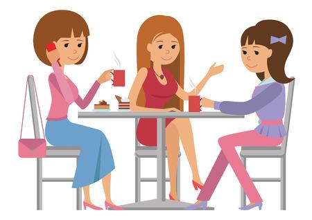 Drie mooie vrienden vrouwen praten vriendelijk coffeeshop terwijl het drinken van hete koffie, vector illustratie van koffie pauze op een witte achtergrond.