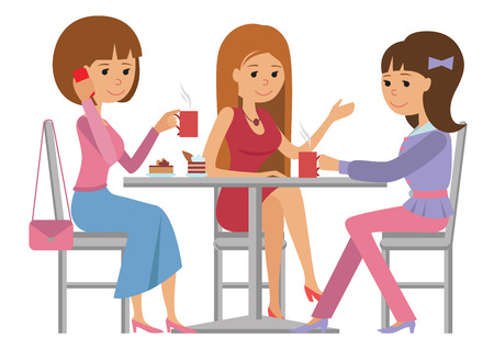 Three beautiful friends women talking friendly at coffee shop while drinking hot coffee, vector illustration of coffee break on white background. Иллюстрация
