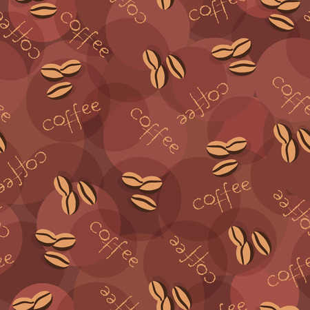 scattering: Beige seamless background with scattering of coffee beans and lettering. Seamless coffee pattern in pale beige colors. Design for cards, wallpaper, posters, clothes. Vector illustration