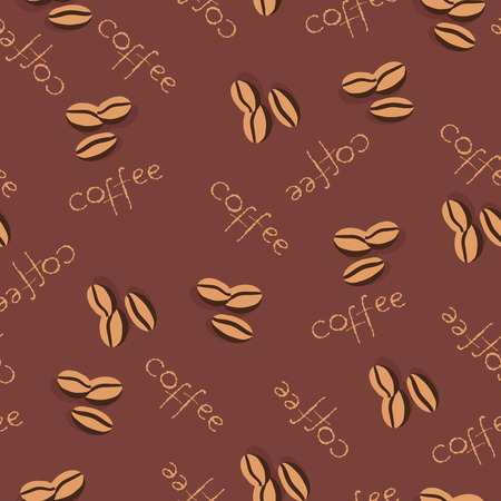 scattering: Seamless background with scattering of coffee beans and lettering. Seamless coffee pattern in pale beige colors. Design for cards, wallpaper, posters, clothes. Vector illustration