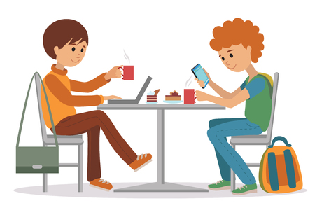 two friends talking: Two students friends talking friendly at coffee shop while drinking hot coffee and using laptop and smartphone, vector illustration of coffee break on white background. Illustration