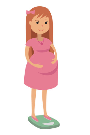 weighed: Pregnant woman, weighed on the scales, stages of pregnancy. Vector flat illustration of pregnant young woman isolated on white background