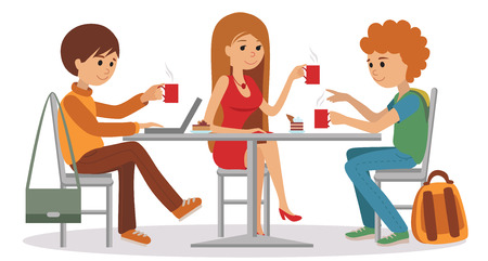 break: Three students friends talking friendly at coffee shop while drinking hot coffee and using laptop, vector illustration of coffee break on white background. Illustration