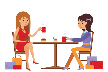 students talking: Two beautiful friends women talking friendly at coffee shop while drinking hot coffee, vector illustration of coffee break on white background.