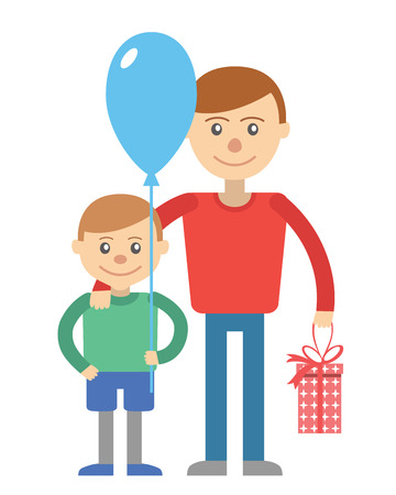 certitude: Father and son vector illustration for father day holiday Illustration