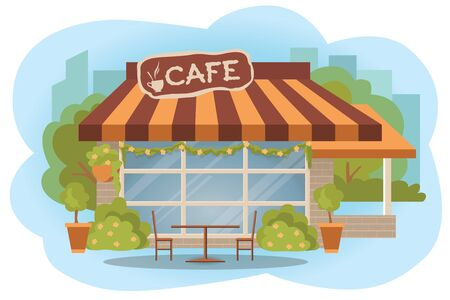 outdoor chair: Open cafe building facade with outdoor street chair seats and tables. Flat style vector illustration isolated on white background.