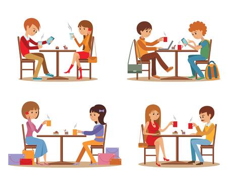 telefono caricatura: Grupo de amigos en la cafetería. pausa para el café y las citas.