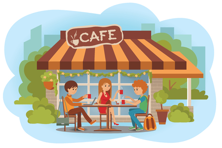 three friends: Three students friends talking friendly at coffee shop outdoor while drinking hot coffee and using laptop.