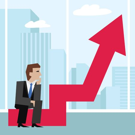 heavy risk: Vector illustration of businessman sitting on an arrow chart. Business concept.