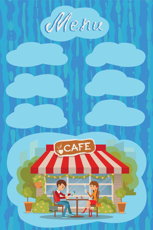 couple date: Couple sitting in the cafe at date, drinking coffee and tea. Vector illustration with lettering and places for inscription menu.