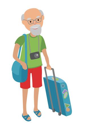 dragging: Illustration of a Male Senior Citizen Dragging a Suitcase. Illustration of elderly man on traveling isolated on white background. Illustration