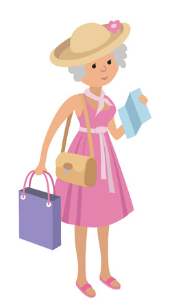 retail therapy: Illustration of elderly woman on shopping isolated on white background. Senior woman tourist. Illustration of senior woman with a photo camera and map in flat style.