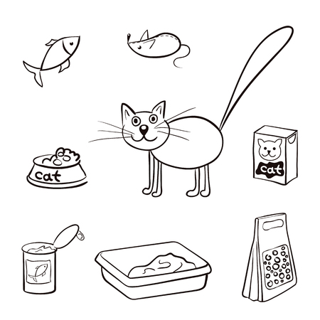 toy toilet bowl: Cat and accessories for care. Black and white vector illustration food, litter, toy for cat. Shopping products cats .