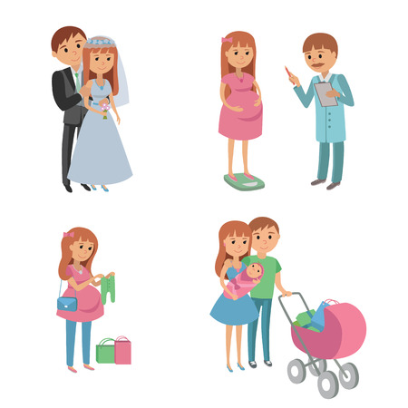 shopping buggy: Set of wedding couple, pregnant parents, young family. Illustration