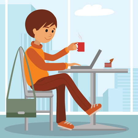 Young man at work sitting in cafe, drinking coffee. Vector illustration of student at coffee break using laptop. Drawing for coffee shop, element of design isolated on white background. Illustration