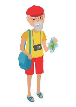 retail therapy: Illustration of elderly man tourist isolated on white background. Senior man holding bags and booklet in her hands. Senior man illustration on flat style. Illustration of elderly man traveling isolated on white background