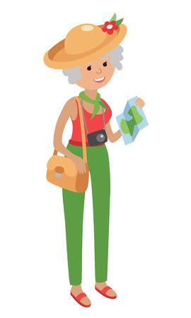 compras compulsivas: Ilustración de la mujer de edad avanzada viajar aislado sobre fondo blanco. Mujer mayor bolsa y un mapa que sostiene en sus manos. Ilustración de la mujer mayor en el estilo plano.