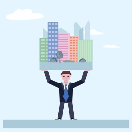 Businessman holds houses. Business concept the real estate market. Vector illustration of businessman with houses isolated on white background. Illustration