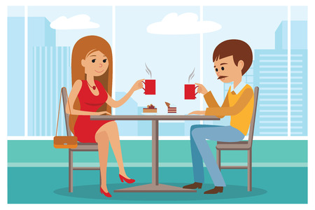 dinner date: Couple sitting in the cafe, flirting and talking about something. Boy and a girl on a date in a cafe drinking coffee. Vector illustration of template for menu, brochure, flyers for cafe or restaurant.