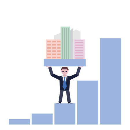 lift and carry: Businessman holding houses. Business concept the real estate market with chart. Vector illustration of businessman with houses standing on chart, isolated on white background.