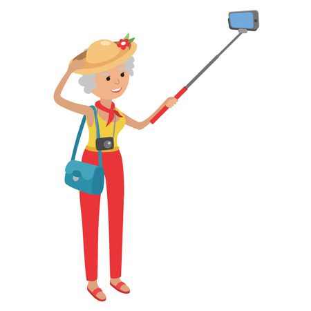 school age: Intelligent modern elderly woman using mobile phone. Grandmother makes selfie on smartphone. Flat illustration isolated on white background of senior traveling.