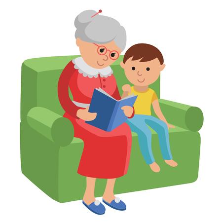 손자에 대한 책을 읽고 노인 여성을 갖춘 그림. 소년 책을 읽고 집에서 의자에 앉아 노인 여성의 평면 스타일에서 벡터 일러스트 레이 션.