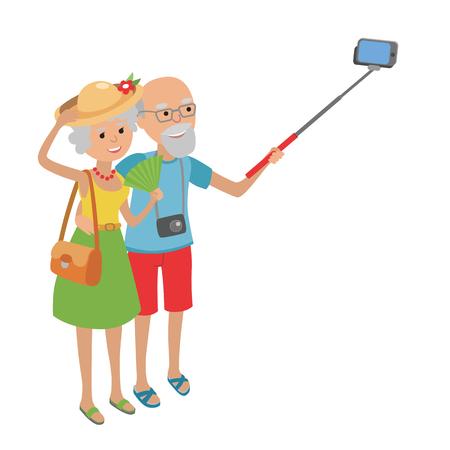 老夫婦旅行フラット スタイルの白い背景で隔離のベクター イラストです。高齢者男女の祖父母シニア カップル selfie になります。