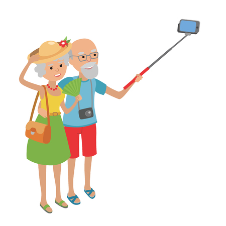 Vector illustratie van de bejaarde echtpaar op een witte achtergrond in vlakke stijl. Bejaarde man en vrouw grootouders senior paar maakt selfie.