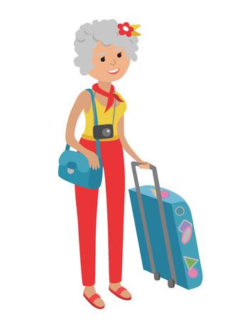 compras compulsivas: Ilustración de la mujer de edad avanzada viajar aislado sobre fondo blanco. Mujer mayor que sostiene las bolsas y la maleta en sus manos. Ilustración de la mujer mayor en el estilo plano.