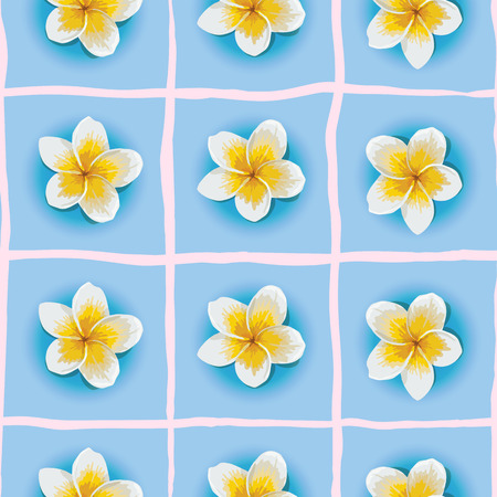 frangipani flower: Vector seamless pattern with Plumeria or Frangipani flower in blue background. National flower of Laos and Bali. Floral background with stripes for summer design.