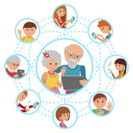 Familie vector illustratie mensen vlakke stijl gezichten online sociale media communicatie. Man vrouw ouders grootouders met tablet telefoon. Content en mensen verbonden via chat aandeel zoals e-mail.