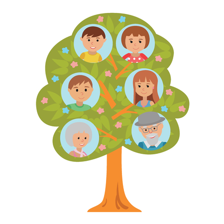 Cartoon generation family tree illustaration isolated on white background. Family tree in flat style grandparents parents and children. Vettoriali