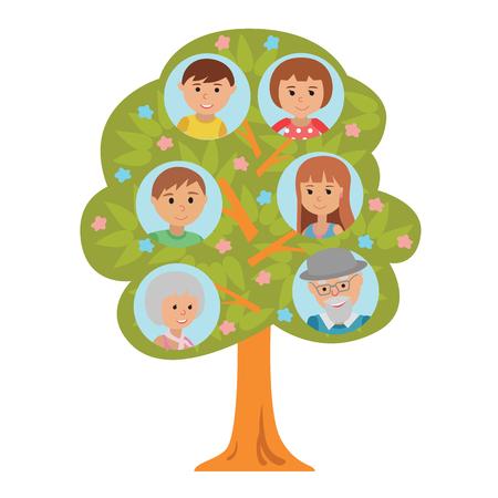 Cartoon generatie stamboom illustaration op een witte achtergrond. Stamboom in vlakke stijl grootouders ouders en kinderen.