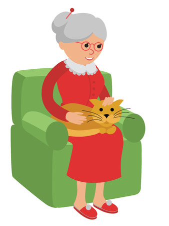 esp: Happy senior woman sitting on the sofa with red cat and rest. Illustration