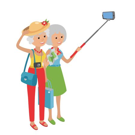 using smartphone: Intelligent modern elderly women using mobile phone. Grandmother makes selfie on smartphone. Flat illustration isolated on white background of senior traveling.
