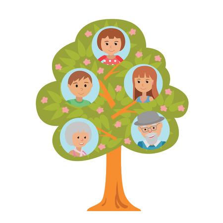 Cartoon generation family tree illustaration isolated on white background. Family tree in flat style grandparents parents and little girl.
