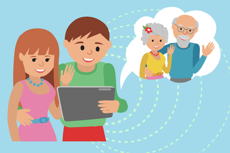 Family vector illustration parents with tablet phone. Illustration