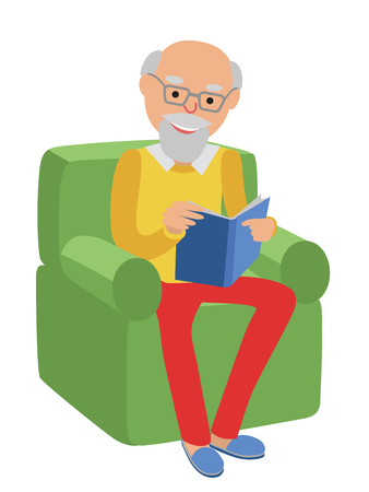 rest: Happy senior man sitting on the sofa read and rest.