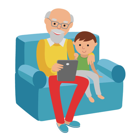 age old: Happy senior man sitting on the sofa read book for his grandson and rest.
