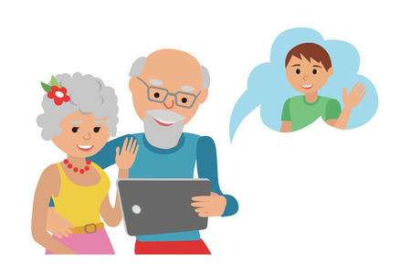woman tablet: Family vector illustration flat style people faces online social media communications. Man woman parents grandparents with tablet phone. Content and humans connected via chat.