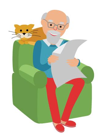 Happy senior man zittend op de sofa met rode kat lezen en te rusten.