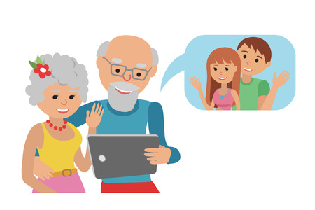 Family vector illustration grandparents with tablet phone. Иллюстрация