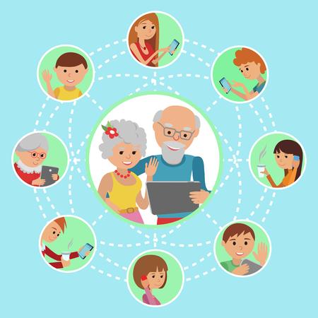 男女性両親祖父母とタブレット携帯電話です。コンテンツと人間は、電子メールのようなチャット共有経由で接続されています。  イラスト・ベクター素材