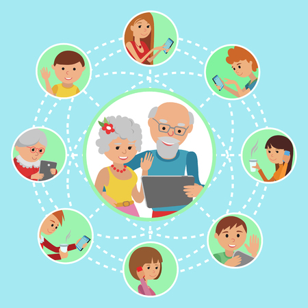 girl using laptop: Man woman parents grandparents with tablet phone. Content and humans connected via chat share like e-mail. Illustration