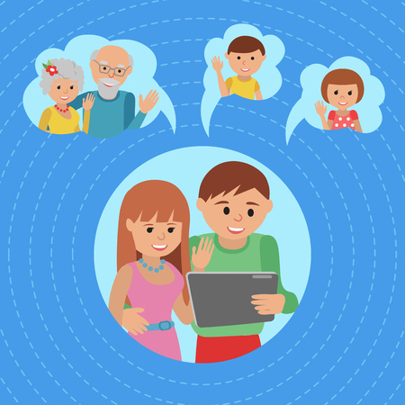 girl using laptop: Family vector illustration parents with tablet phone. Illustration